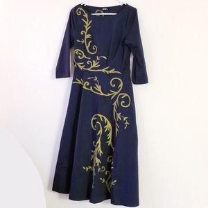 eShakti Navy Blue Formal, 3/4 Sleeve Dress